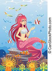 Mermaid in ocean - A vector illustration of a mermaid in the...