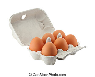 egg box isolated with clipping path - Cardboard egg box with...
