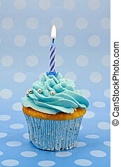 baby blue first birthday cupcake