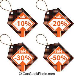 Set of Orange Discount Labels