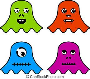 vector cute ghost monsters