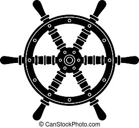 vector nautical boat steering wheel silhouette
