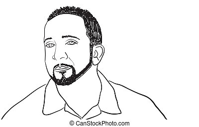 Cool Guy Sketch - A sketch of a man with a goatee and thin...