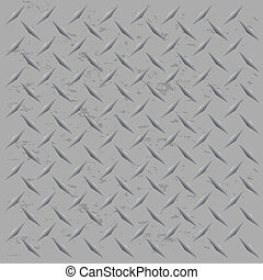 Worn Diamond Plate Vector - A silver metallic diamond plate...