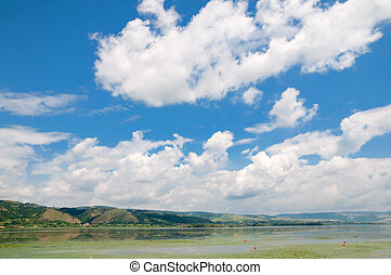 Danube river, near to Silver Lake Srebrno jezero, river is...