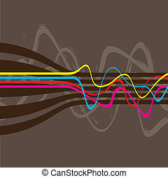 Squiggle Lines Vector - Abstract layout with wavy lines in a...