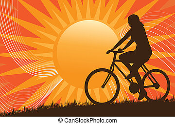 Mountain Biking Silhouette - A silhouette of a person riding...