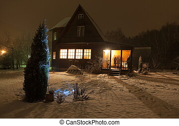 Russian county house dacha and decorated Christmas tree...