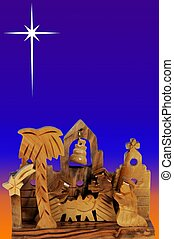 Wooden Nativity Scene and Star - Wooden nativity scene...