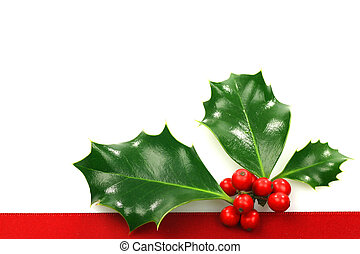 christmas ornament border with holly, berries and room for...