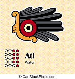 Aztec symbol Atl - Aztec calendar symbols - Atl or water 9