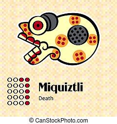 Aztec symbol Miquiztli - Aztec calendar symbols - Miquiztli...