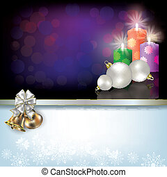 Christmas background with candles and decoration
