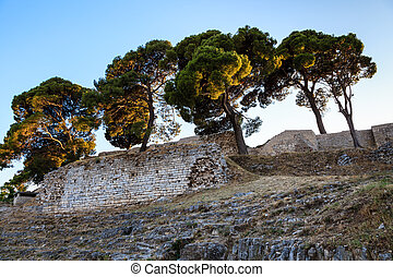 Roman Ampitheater Ruins in the Ancient Town of Pula, Istria, Croatia