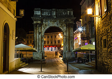 Golden Gate (Sergius Arch) in Pula at Night, Croatia