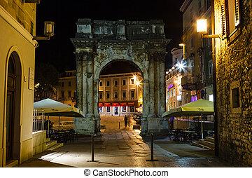 Golden Gate (Sergius Arch) in Pula at Night, Croatia