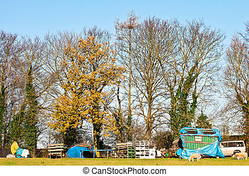 Traveller site - A traveller site in the UK in winter 2012