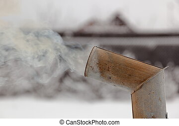 Smoke from samovarrsquo;s chimney in winter Moscow region...