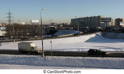 City traffic - Moscow winter highway with rush hour hard...