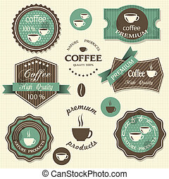 Vector coffee labels. Vintage style