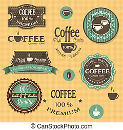 Coffee labels for design vintage style