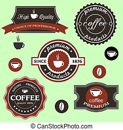 Vector coffee labels in retro style