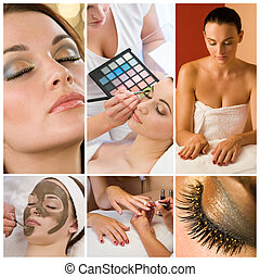 Women Make Up at Health and Beauty Spa Montage - Montage of...