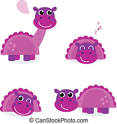 Cute pink dinosaur set isolated on white - Purple Dino for...