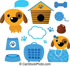 Dog accessories set isolated on white blue - Design elements...
