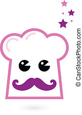 Chef pink hat mascot isolated on white - Cute stylized pink...