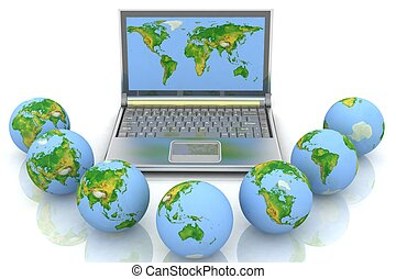 laptop and globes. conception global computer network