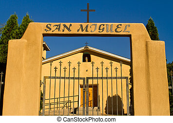 San Miguel Church, New Mexico - front entrance to San Miguel...