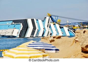 Shipwreck - Concordia shipwreck island lily,ship aground