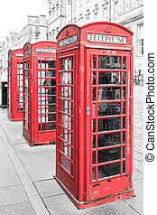 Traditional red phone booth in england
