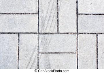 Gray white rectangular flooring tiles