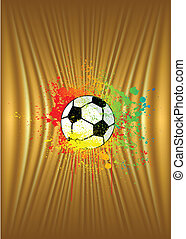 Abstract gold background with soccer ball. Vector