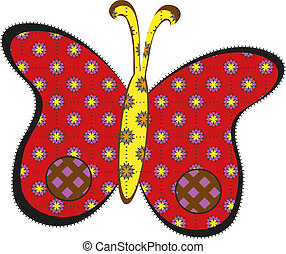 Red patchwork butterfly