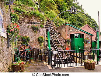 Funicular railway - 340 m long Water powered cliff railway...