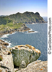 Cliffs on Cies Islands - West Cliff on Cies Islands from the...