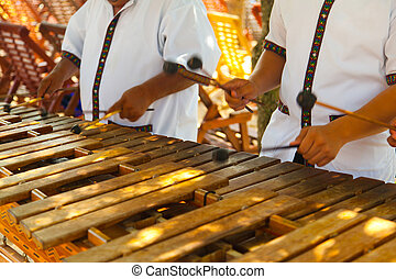 Mexican musicians playing a wooden marimba, an instrument...