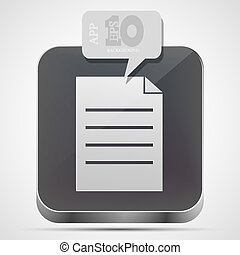 Vector file app icon with gray bubble speech. Eps10