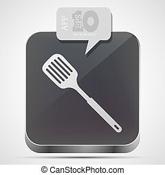 Vector slotted kitchen spoon app icon with gray bubble...