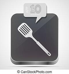 vettore, scanalato, cucina, cucchiaio, App, icona, grigio,...