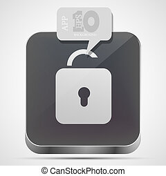 Vector unlock app icon with gray bubble speech. Eps10