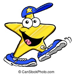Star walker - Cartoon of star in baseball cap and sneakers....