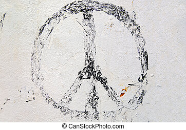 faded peace sign - Weathered peace sign on white painted...