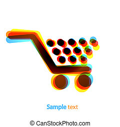 Vector abstract shopping icon on white background. Eps 10