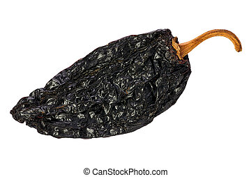Ancho Chili (Capsicum annuum) - Ancho chili against a white...