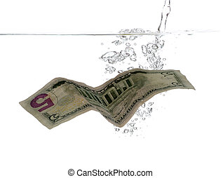 5 Dollar banknote in water and bubbles