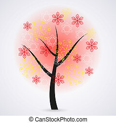 Creative snowflakes tree on gray background Eps 10...